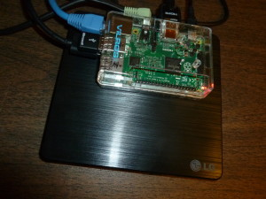 Raspberry Pi 2 and LG DVD Drive - Click for larger version